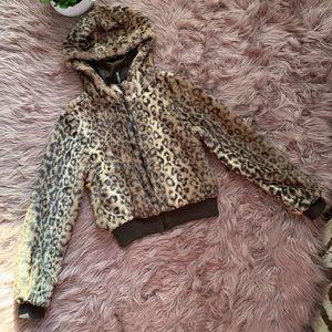 H&M DIVIDED Faux Fur Animal Print Crop Jacket